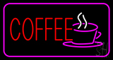 Red Coffee Logo with Pink Border Neon Sign