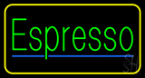 Green Espresso with Yellow Border Neon Sign