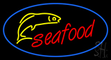 Oval Red Seafood Blue Border Logo Neon Sign