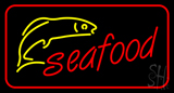 Red Seafood with Red Border Logo Neon Sign