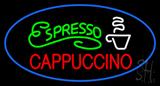 Oval Espresso Cappuccino with Blue Border Neon Sign