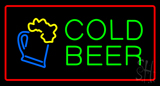 Cold Beer with Red Border Neon Sign