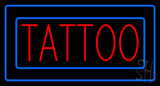 Red Tattoo Blue Borders Neon Sign