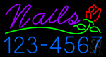 Pink Nails with Phone Number Neon Sign