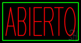Red Abierto with Green Border Neon Sign