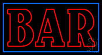 Double Stroke Red Bar Blue Border Neon Sign