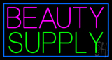 Pink Beauty Supply with Blue Border Neon Sign