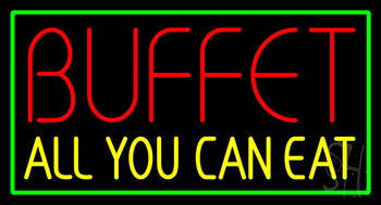 Buffet All You Can Eat with Green Border Neon Sign
