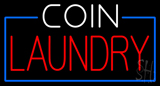 White Coin Red Laundry Blue Border Neon Sign