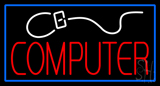 Computer with Logo Blue Border Neon Sign