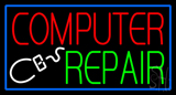 Computer Repair Blue Border Neon Sign