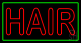 Double Stroke Hair with Green Border Neon Sign
