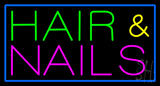Green Hair and Pink Nails with Blue Border Neon Sign
