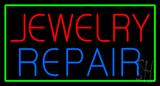 Jewelry Repair Green Rectangle Neon Sign