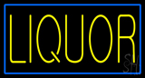 Yellow Liquor Blue Border Neon Sign