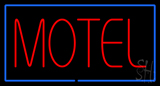 Motel Neon Sign with Blue Border