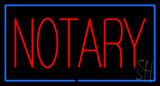Red Notary Blue Border Neon Sign