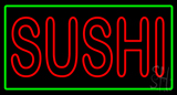 Red Double Stroke Sushi with Green Border Neon Sign