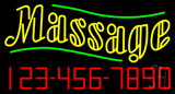 Double Stroke Massage with Phone Number Neon Sign