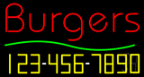 Burgers with Phone Number Neon Sign