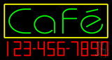 Green Cafe with Phone Number Neon Sign