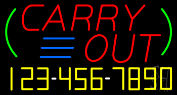 Carry Out with Phone Number Neon Sign