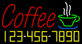 Red Coffee with Phone Number LED Neon Sign
