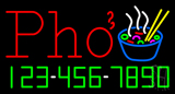 Red Pho with Phone Number Neon Sign