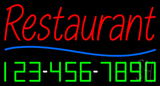 Red Restaurant with Phone Number Neon Sign