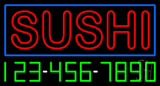 Double Stroke Red Sushi with Phone Number Neon Sign