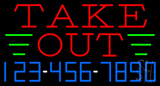 Take Out Neon Sign with Phone Number