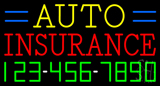 Auto Insurance with Phone Number Neon Sign