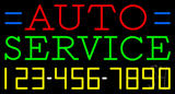 Auto Service with Phone Number Neon Sign