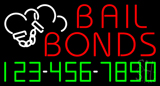 Red Bail Bonds with Phone Number Neon Sign