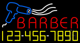 Red Barber Blue Border Neon Sign