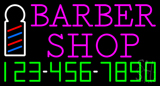 Pink Barber Shop with Phone Number Neon Sign