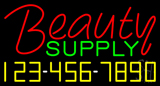 Red Beauty Supply with Phone Number Neon Sign
