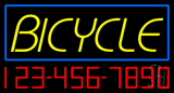 Bicycle Blue Border with Phone Number Neon Sign