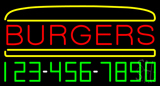 Burgers Inside Burger with Phone Number Neon Sign