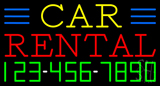 Car Rental with Phone Number Neon Sign
