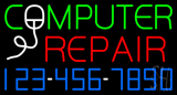 Computer Repair Blue Border Neon Sign