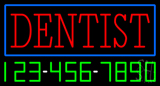 Red Dentist Blue Border with Phone Number Neon Sign