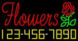 Red Flowers with Phone Number Neon Sign