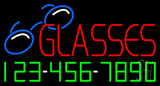 Red Glasses with Phone Number Neon Sign