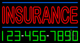 Double Stroke Red Insurance with Phone Number Neon Sign