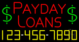Red Payday Loans with Phone Number Neon Sign
