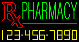 Pharmacy with Phone Number Neon Sign