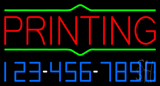 Red Printing with Phone Number Neon Sign
