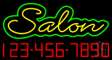 Yellow Salon with Phone Number Neon Sign