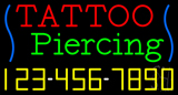 Tattoo Piercing with Phone Number LED Neon Sign